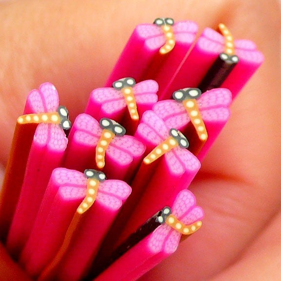 Polymer Clay Cane - Purple Dragonfly - for Miniature Food / Dessert / Cake / Ice Cream Sundae Decoration and Nail Art CIN07