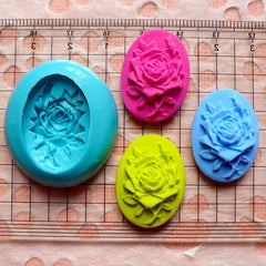 Oval One Rose Cameo (25mm) Silicone Flexible Push Mold - Jewelry, Charms (Paper Clay Fimo Sculpey Resin Epoxy Wax Gum Paste Fondant) MD613