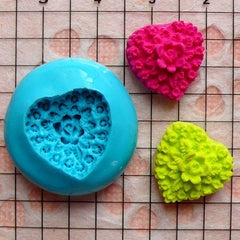 Heart Shaped Flower / Rose Cameo (15mm) Silicone Flexible Push Mold - Jewelry, Charms, Cupcake (Clay, Fimo, Resins, Epoxy, Fondant) MD608