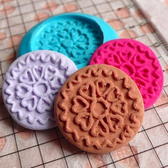 Round Cookie Mold Biscuit Mold 21mm Silicone Flexible Mold Dollhouse Miniature Sweets Fimo Polymer Clay Mold Kitsch Cabochon Mold MD735