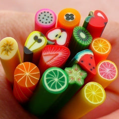 Polymer Clay Cane Fruit Assorted Canes Mix 15 pcs 2.5cm Long Mini Sweets Deco Kawaii Cupcake Fruit Tart Fimo Cane Nail Decoration CMX040