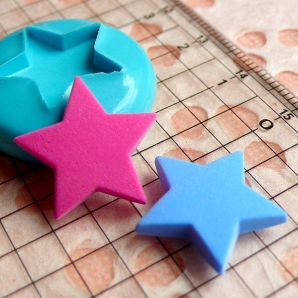Star (18mm) Silicone Flexible Push Mold - Miniature Food, Sweets, Jewelry, Charms (Clay, Fimo, Resins, Fondant) MD495