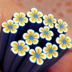 Dark Blue Flower Polymer Clay Cane Nail Art Deco Scrapbooking Kawaii Mini Fimo Flower Cane Decoden Cane CFW040