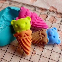 Kawaii Silicone Mold Flexible Mold - Bear in Ice Cream Cone (22mm) Miniature Food, Sweets, Jewelry, Charms (Clay Fimo Resin Fondant) MD296