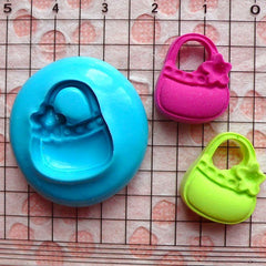 Handbag Mold w/ Flower 18mm Silicone Flexible Mold Cupcake Topper Kawaii Jewelry Charms Cabochon Mold Fimo Mold Polymer Clay Push Mold MD540