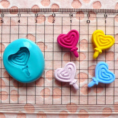 Heart Shaped Lollipop (16mm) Silicone Flexible Push Mold - Miniature Food, Sweets, Jewelry, Charms (Clay Fimo Resin Epoxy Wax Fondant) MD719