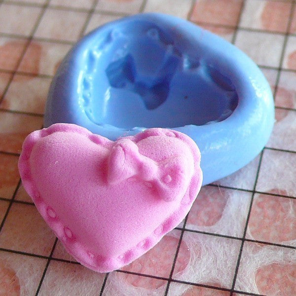 French Heart Macaron with Bow (15mm) Silicone Flexible Push Mold - Miniature Food, Sweets, Jewelry, Charms (Clay Fimo Epoxy Fondant) MD253