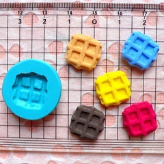 Waffle (14mm) Silicone Flexible Push Mold - Miniature Food, Jewelry, Charms, Cupcake (Clay Fimo Resin Wax Soap Gum Paste Fondant) MD305
