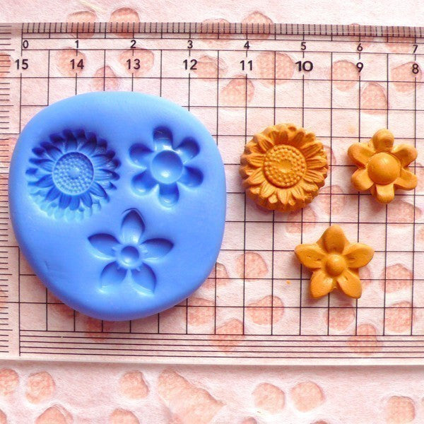 Set of 3 Flower / Sun Flower (12mm to 15mm) Silicone Flexible Push Mold - Jewelry, Charms, Cupcake (Clay Fimo Resin Gum Paste Fondant) MD589