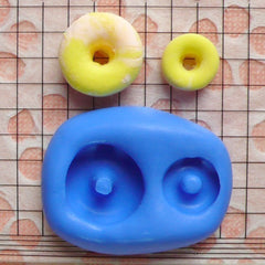 Donut Mold Doughnut 10,16mm Silicone Flexible Mold Kawaii Miniature Sweets Decoden DIY Kitsch Jewelry Earrings Fimo Clay Wax Dollhouse MD652