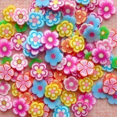 Flower Fimo Cane slices Polymer Clay Flower Assorted Mix  Mini Decoden Kawaii Miniature Nail Art Decoration (100 pcs) (by random) CMX007