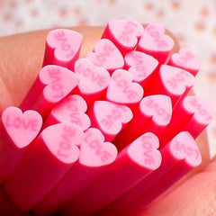 Polymer Clay Cane - Pink Heart with Love - for Miniature Food / Dessert / Cake / Ice Cream Sundae Decoration and Nail Art CH08