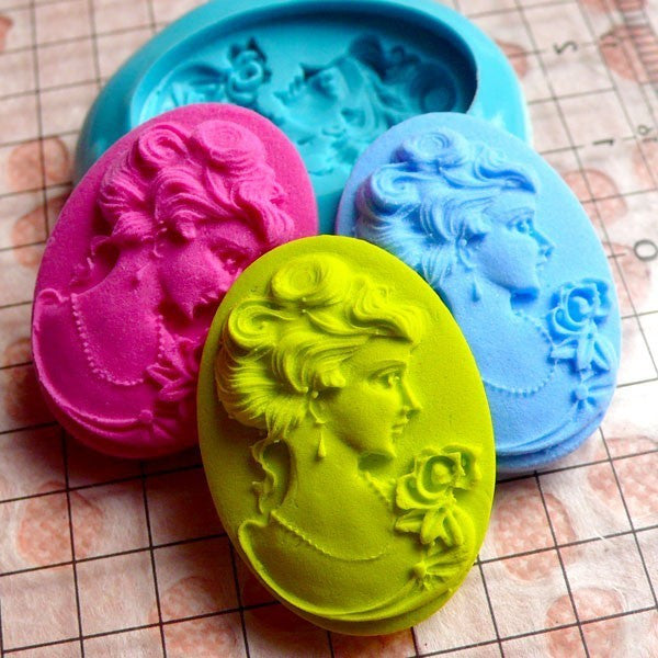 Victorian Lady Cameo (25mm) Silicone Flexible Push Mold - Jewelry, Charms (Resin Paper Clay Fimo Casting Resins Wax Gum Paste Fondant) MD622