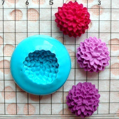 Flower / Pom Pom Chrysanthemum / Dahlia (15mm) Silicone Flexible Push Mold - Craft, Jewelry, Charms (Clay, Fimo, Resins, Fondant) MD569