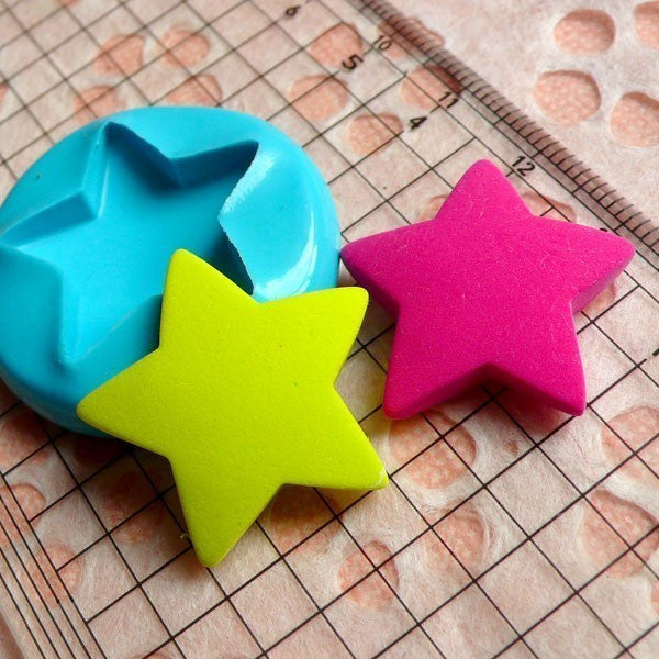Star (24mm) Silicone Flexible Push Mold - Miniature Food, Sweets, Jewelry, Charms (Clay Fimo Casting Resins Gum Paste Fondant Sculpey) MD496