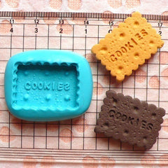 Flexible Silicone Mold - Rectangular Cookie / Biscuit (24mm) Miniature Food, Sweets, Jewelry, Charms (Clay, Fimo, Resins, Gum Paste) MD131