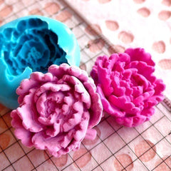 Flower / Peony (27mm) for Silicone Flexible Push Mold - Jewelry, Charms (Resin Paper Clay Fimo Casting Resins Wax Gum Paste Fondant) MD753