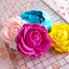 Flower / Rose (27mm) Silicone Flexible Push Mold - Jewelry, Charms, Cupcake (Clay Fimo Epoxy Casting Resins Wax Gum Paste Fondant) MD586