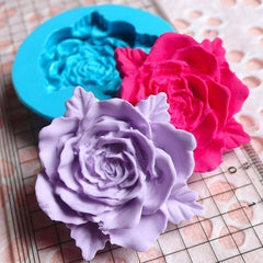 Flower / Rose with leaves (37mm) Silicone Flexible Push Mold Jewelry, Charms, Cupcake  (Clay, Fimo, Sculpey, Soap, Gum Paste, Fondant) MD596