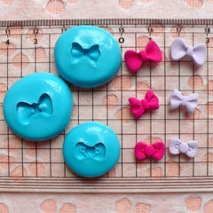 Set of 3 Tiny Bow Bowtie (10mm to 13mm) Silicone Flexible Push Mold - Jewelry, Charms, Cupcake (Clay, Fimo, Sculpey, Resin, Fondant) MD466