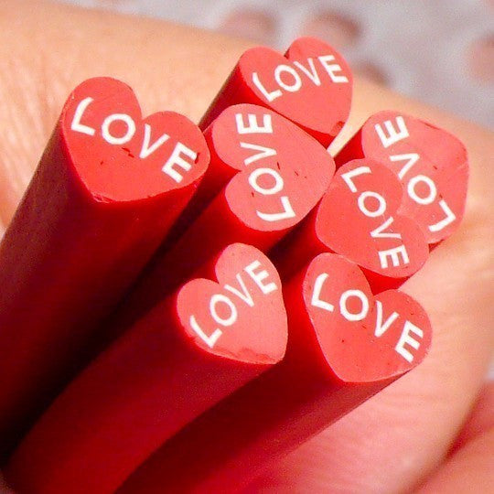 Polymer Clay Cane - Red Heart with Love - for Miniature Food / Dessert / Cake / Ice Cream Sundae Decoration and Nail Art CH04