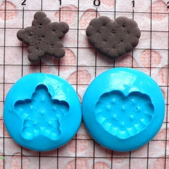 Silicone Flexible Mold Cookie Biscuit Mold Heart Star 2pcs 15mm Miniature Sweets Kawaii Decoden Fimo Mold Polymer Clay Cabochon MD140-141
