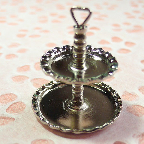 Charms / Pendants - 1 Piece of 2 Tier High Tea Cake Stand (Metal) (28mm x 25mm) MI11