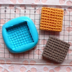 Kawaii Mold Waffle Wafer Biscuit 22mm Silicone Flexible Mold Decoden Mini Sweets Fimo Polymer Clay Food Mold Cabochon Charms Epoxy Wax MD309