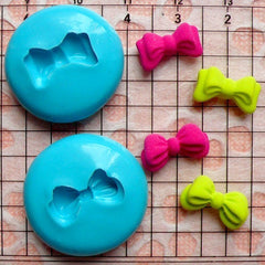 Set of 2 Ribbon / Bow (13mm and 14mm) Silicone Flexible Push Mold - Miniature Food, Sweets, Jewelry, Charms (Clay Fimo Resin Fondant) MD728