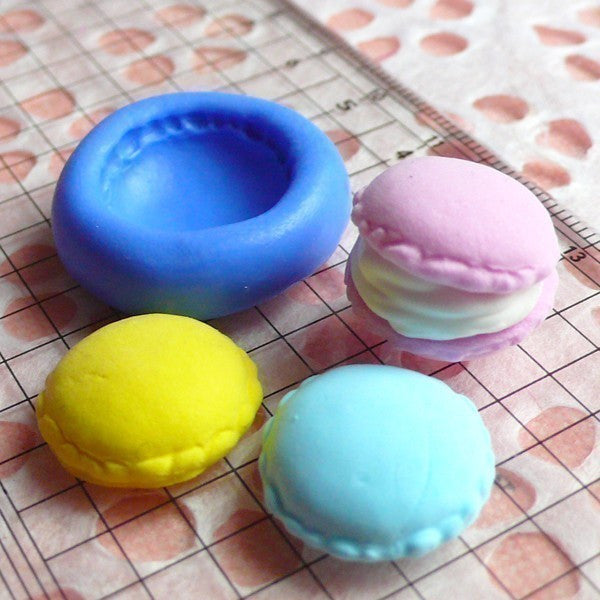 Macaron Mold 16mm Flexible Silicone Mold Kawaii Deco Sweets Miniature Food Mold Fimo Polymer Clay Jewelry Charms DIY Cabochon Mold MD252