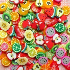 Fimo Fruits Polymer Clay Cane Slices Mix Kawaii Miniature Sweets Decoden Scrapbooking Nail Art Decoration (150pcs) CMX002