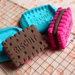 3D Flexible Mold Silicone Mold Cookie Biscuit w/ Cream 28mm Decoden Mold Kawaii Miniature Sweets Fimo Clay Jewelry Cabochon Charms MD129
