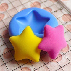 Puffy Star (17mm) Silicone Flexible Push Mold - Miniature Food, Cupcake, Jewelry, Charms (Resin, Paper Clay, Fimo, Fondant, Gum Paste) MD494