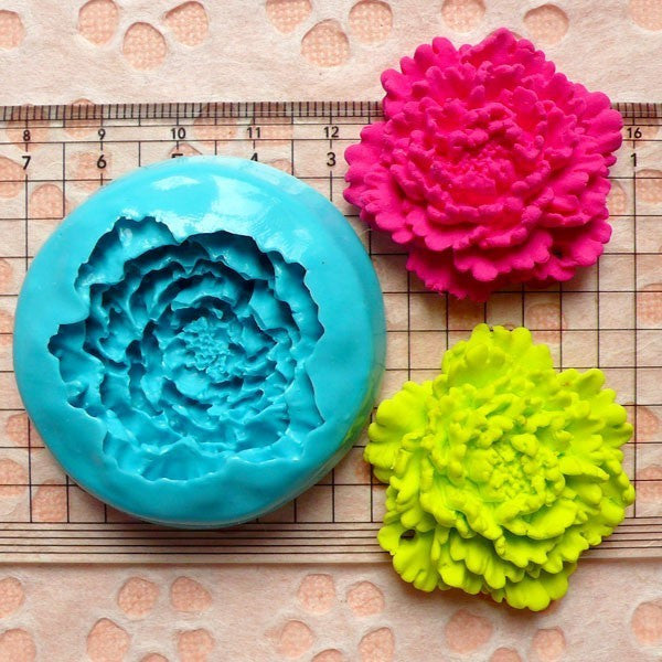 Flower / Peony (35mm) Silicone Flexible Push Mold Jewelry Charms Cupcake (Clay, Fimo, Casting Resins, Epoxy, Wax, Gum Paste, Fondant) MD780