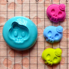 Skeleton / Skull with Rose (13mm) Silicone Flexible Push Mold - Miniature Sweets, Jewelry, Charms (Clay Fimo Resins Gum Paste Fondant) MD670