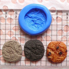 Round Chocolate Chip Cookie / Biscuit (20mm) Silicone Flexible Push Mold - Miniature Sweets, Jewelry, Charms (Clay, Fimo, Resin) MD175