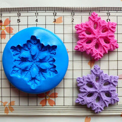 Snowflake (27mm) Silicone Flexible Push Mold - Jewelry, Charms, Cupcake (Clay, Fimo, Premo, Casting Resins, Epoxy, Gum Paste, Fondant) MD677
