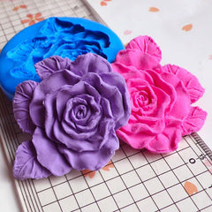 Flower / Rose with Leaf (46mm) Silicone Flexible Push Mold - Jewelry, Charms, Cupcake (Clay Fimo Casting Resins Soap GumPaste Fondant) MD738