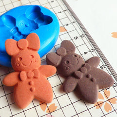 Gingerbread Man (Lady) with Bow (31mm) Silicone Mold Flexible Mold - Miniature Food Cupcake Jewelry Charms (Resin Clay Fimo Gum Paste) MD271