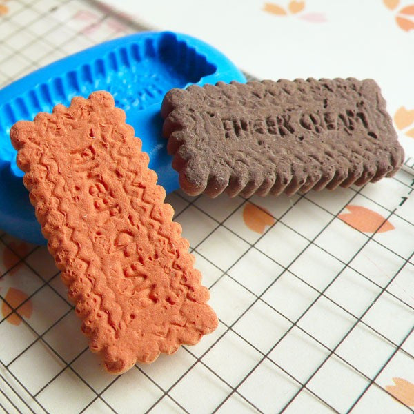 Cookie Biscuit Mold Long 30mm Flexible Silicone Mold Decoden Mold Kawaii Miniature Sweets Fimo Polymer Clay Food Jewelry Cabochon Wax MD183