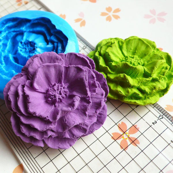 Vintage Cabbage Rose (42mm) Silicone Flexible Push Mold - Jewelry, Charms, Cupcake (Clay Fimo Casting Resins Wax Gum Paste Fondant) MD741