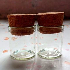 Small Terranium Glass Bottles with Corks (25mm x 22mm / 5ml / 2pcs) Mini Glass Jar Glass Vile Glass Vial Whimsical Pendant Charm DIY MC20