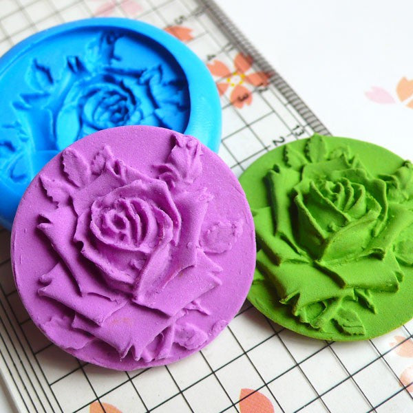 Rose Mold Round Flower Cameo Mold 32mm Flexible Silicone Mold Flower Cupcake Topper Mold Fondant Gumpaste Clay Fimo Wax Butter Mold MD617