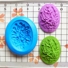 Victorian Oval Flower / Rose Cameo (25mm) Silicone Flexible Push Mold - Miniature Food, Sweets, Charms (Clay, Fimo, GumPaste, Fondant) MD610