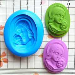 Madonna and Child Cameo (25mm) Silicone Flexible Push Mold - Jewelry, Charms, Cupcake (Clay Fimo Casting Resins Epoxy Wax Fondant) MD628