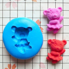 Dancing Lady Bear (17mm) Silicone Flexible Mold Push Mould Miniature Food Sweets Cupcake Jewelry Charms (Polymer Clay, Resin Candy) MD447