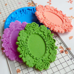 Ornate Victorian Frame Setting (51mm) Silicone Flexible Push Mold - Jewelry, Charms (Clay Fimo Casting Resin Wax Gum Paste Fondant) MD650