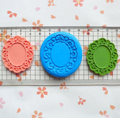 Ornate Victorian Frame Setting (40mm) Silicone Flexible Push Mold - Jewelry, Charms (Clay, Fimo, Epoxy, Soap, Gum Paste, Fondant, Wax) MD648