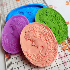 Victorian Lady with Bird Cameo (40mm) Silicone Flexible Push Mold Butter Mold Jewelry Mold Resins Gum Paste Fondant Fimo Polymer Clay MD644