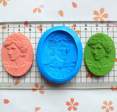 Crown Princess Cameo (40mm) Silicone Flexible Push Mold - Jewelry, Charms, Cupcake (Clay Fimo Casting Resins Wax Gum Paste Fondant) MD641
